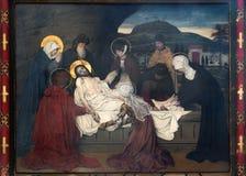 Antwerp - freskomålning - jordfästning av Jesus av Josef Janssens från år 1903 - 1910 i domkyrkan av vår dam royaltyfria foton