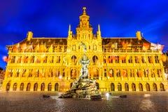 Antwerp, Grote Markt och stadshus, Belgien Arkivbilder