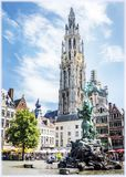 Antwerp Grote Markt Square Stock Photography