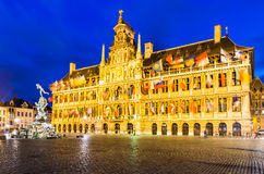 Antwerp, Grote Markt and town hall, Belgium Royalty Free Stock Photos