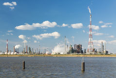 Antwerp Harbor Refinery And Flare Stack Stock Photography