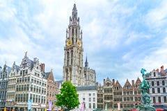 Antwerp huvudsaklig fyrkant i Flanders, Belgien arkivfoto