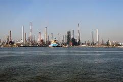 Antwerp industrial skyline. Scenic view of industrial skyline of Antwerp harbor viewed across ocean, Antwerp, Belgium Stock Images