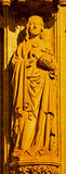 Antwerp - Jesus Christ the Pantokrator statue on the main portal on the cathedral of Our Lady at night Royalty Free Stock Photography