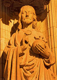 Antwerp - Jesus Christ the Pantokrator statue on the main portal on the cathedral of Our Lady at night Stock Photos