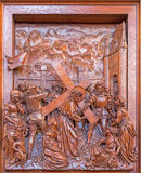 Antwerp - Jesus with the cross and cried women scene. Carved relief in St. Pauls church (Paulskerk) Stock Photography