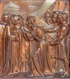 Antwerp - Jesus and his mother on the cross way. Metal  relief from Joriskerk or st. George church Stock Images