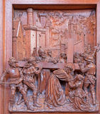 Antwerp - Jesus meets his mother. Carved relief in St. Pauls church (Paulskerk) Royalty Free Stock Photography