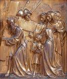 Antwerp - Jesus meets the women of Jerusalem, Metal relief from Joriskerk or st. George church. On September 5, 2013 in Antwerp, Belgium Stock Photo