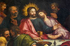 Antwerp - Jesus and st. John at last supper in Jakobskerk Royalty Free Stock Images
