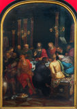 Antwerp - Last supper of Christ by Otto van Veen  from year 1592 in the cathedral of Our Lady Stock Photos