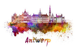 Antwerp linia horyzontu w akwareli Obrazy Stock
