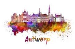 Antwerp linia horyzontu w akwareli Zdjęcia Stock