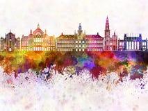 Antwerp linia horyzontu w akwareli tle Zdjęcie Royalty Free