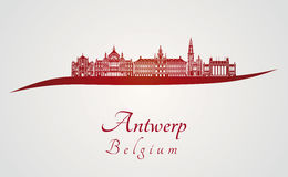 Antwerp linia horyzontu w czerwieni Obrazy Royalty Free