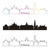 Antwerp linii horyzontu liniowy styl z tęczą Fotografia Royalty Free