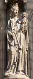 Antwerp - Madonna statue on the main portal on the cathedral of Our Lady Royalty Free Stock Photography