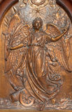 Antwerp - Metal relief of Angel of the peace from Joriskerk or st. George church on the wars victims memorial Royalty Free Stock Image