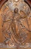 Antwerp - Metal relief of Angel of the peace from Joriskerk or st. George church on the wars victims memorial. On September 5, 2013 in Antwerp, Belgium Royalty Free Stock Image