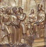 Antwerp - Metal relief of Jesus for Pilate scene as part of the cross way cycle. Metal relief from Joriskerk or st. George church Stock Image