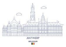 Antwerp miasta linia horyzontu, Belgia Zdjęcie Royalty Free