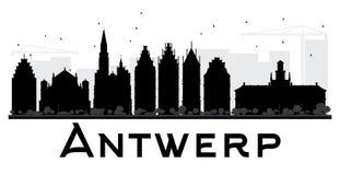 Antwerp miasta linii horyzontu czarny i biały sylwetka Zdjęcie Royalty Free