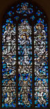 Antwerp - Modern windowpane of coronation of Virgin Mary in Saint Willibrordus church Stock Images