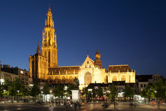 Antwerp by Night. Cathedral of Our Lady in Antwerp by night stock photo