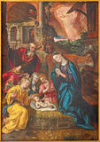 Antwerp - Paint of Nativity scene by Maarten de Vos from year 1577 in the cathedral of Our Lady royalty free stock images