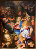 Antwerp - Paint of Pentecost scene by Matthijs Voet in St. Pauls church (Paulskerk) Stock Photos