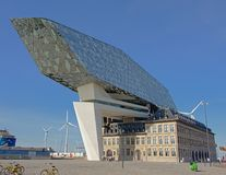 Antwerp Port house, modern building by architect Zaha Hadid. Antwerp port authority building by Zaha HAdid. The Port House symbolises the dynamic and innovative stock photo