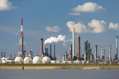 Antwerp Port Refinery And Gas Storage Tanks Stock Photo