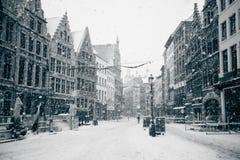 Antwerp przy Zima Śnieżycą Obraz Royalty Free