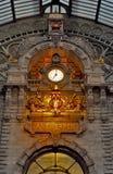 Antwerp railway station. Ancient clock in Antwerp railway station stock photo