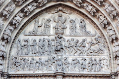 Antwerp - Relief of Last judgment on the main portal on the cathedral of Our Lady Stock Photos