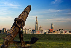 Antwerp and the river Scheldt Stock Images