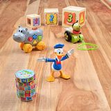 Vintage toys with animated character Donald Duck. ANTWERP-SEPTEMBER 7, 2017. Vintage toys with Donald Duck, an animated character created by Walt Disney, a Royalty Free Stock Photo