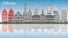 Antwerp Skyline with Gray Buildings, Blue Sky and Reflections. Royalty Free Stock Photography