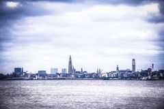 Antwerp skyline from the Schelde river, Belgium. The skyline of Antwerp seen from the Schelde river in Belgium Royalty Free Stock Image