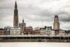 Antwerp skyline with the schelde river. The skyline of Antwerp, Belgium with the Schelde river seen from Linkeroever Stock Photo