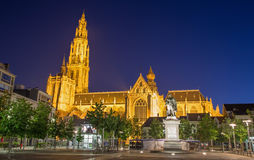 Antwerp - South facade of cathedral of Our Lady in morning dusk and Rubens memorial Stock Photo
