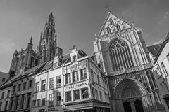 Antwerp - South facade of cathedral of Our Lady on September 4, 2013 in Antwerp, Belgium Royalty Free Stock Image