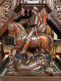 Antwerp - St. George sculpture on the carved pulptit of Joriskerk or st. George church Royalty Free Stock Photography