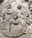 Antwerp - Stone relief of Jesus fall under the cross from calvary beside St. Pauls church (Paulskerk) Stock Photos