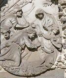 Antwerp - Stone relief of Jesus fall under the cross from calvary beside St. Pauls church (Paulskerk). On September 5, 2013 in Antwerp, Belgium Stock Photos