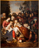 Antwerp - Three Magi scene by Artus Wolffort from years 1615 - 1620 in the cathedral of Our Lady Stock Photos