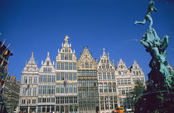 Antwerp Town Square. The town square of Antwerp, Belgium including the city hall, guild houses and famous fountain Royalty Free Stock Image