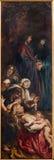 Antwerp - vänster panel från att lyfta för triptyk av korset (1609 - 1610) vid den barocka målaren Peter Paul Rubens i domkyrkan a Royaltyfria Bilder