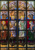Antwerp - Windowpane of apostle Peter and Paul from cathedral of Our Lady Stock Image