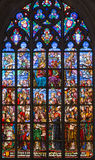 Antwerp - Windowpane of Coronation of hl. Mary from cathedral of Our Lady Stock Photo